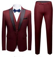 Classic Business Wine Red Blue Black Male Suits Men's Custom Slim Fit Wedding Suit Tuxedos (Jacket+Vest+Pants) trajes de terno