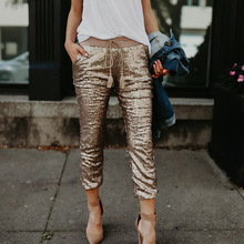 Streetwear Sequined Ankle-Length Pants Feminina Punk Rose Gold Pants Drawstring Elastic Waist Shining Glitter Ladies Trousers