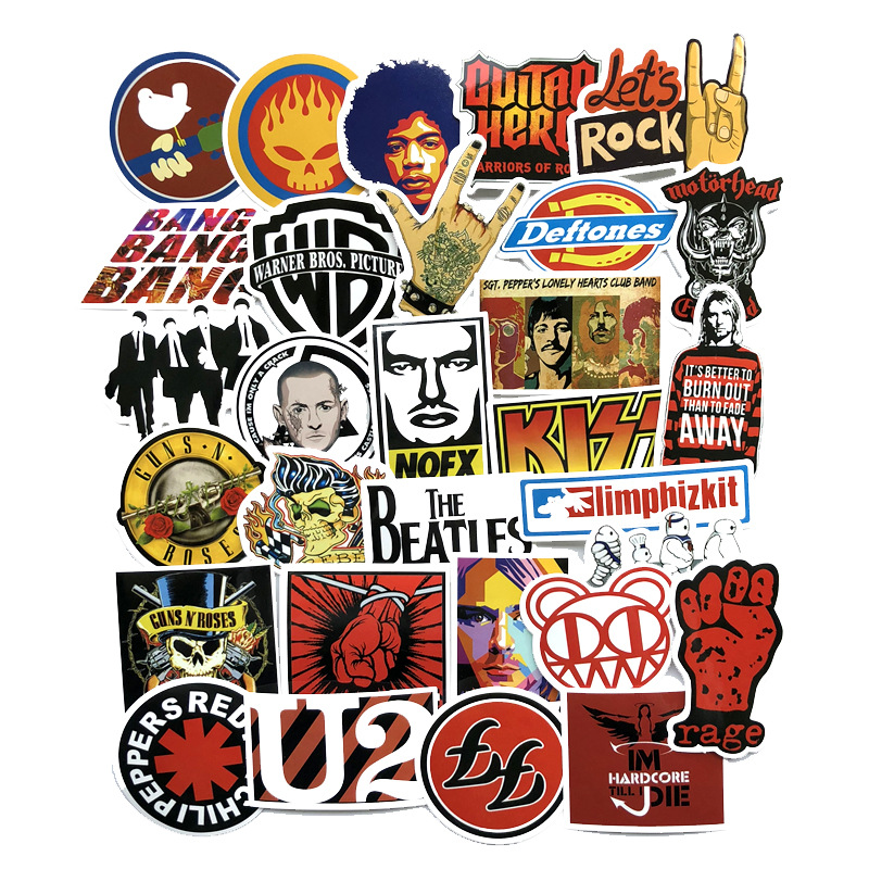 50 Pcs Rock & Roll Mixed Hip Hop Stickers Toy for Laptop Skateboard Luggage Guitar Suitcase Music Punk Graffiti PVC Sticker Pack 50 pcs rock music punk graffiti black and white sticker pack cool suitcase skateboard guitar luggage car waterproof stickers