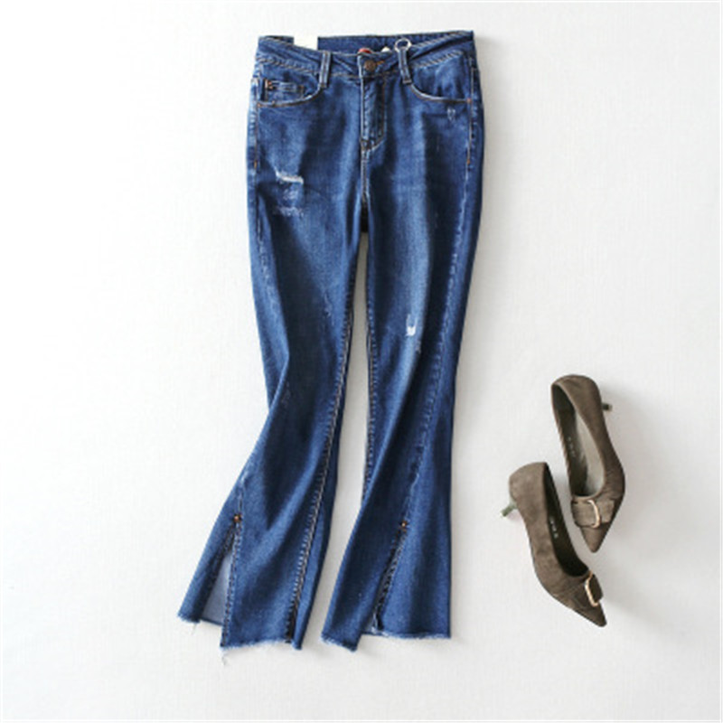 Hot-sale 2018 Spring New Irregular Thin Large Long Split Hair Flash Rivets Trumpet Jeans Female Pants Demin Women Clothing