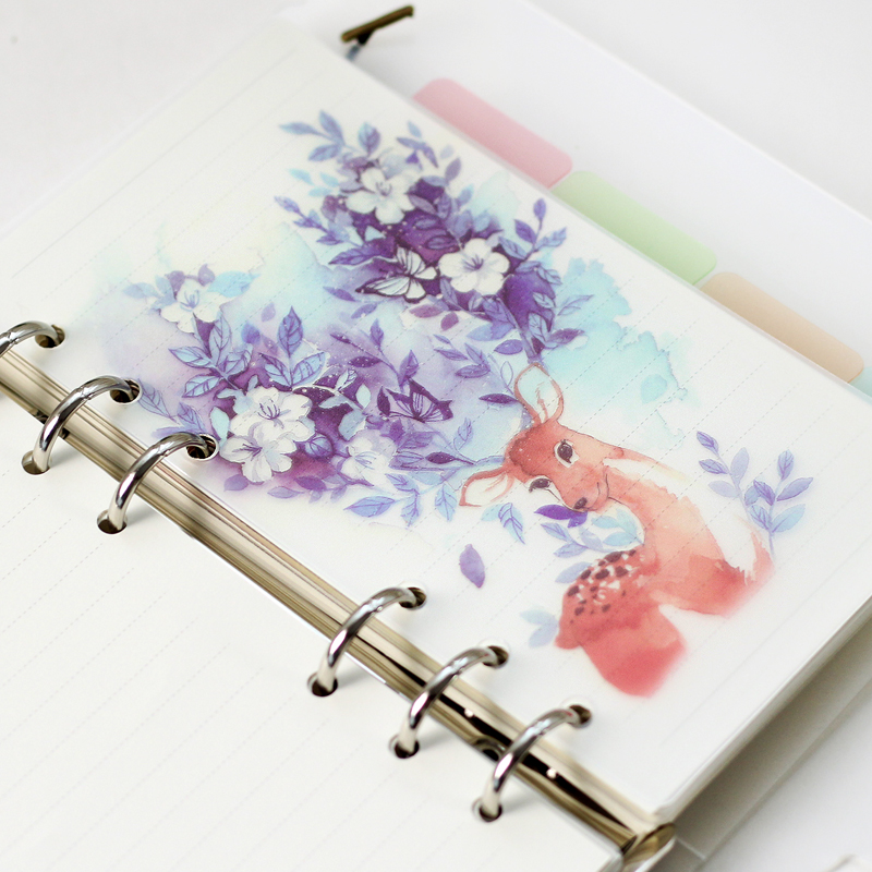 5 sheet/lot A5 A6 Deer Colored Delicate Scrub Diario Planner Index Page Beautiful Retro Pl