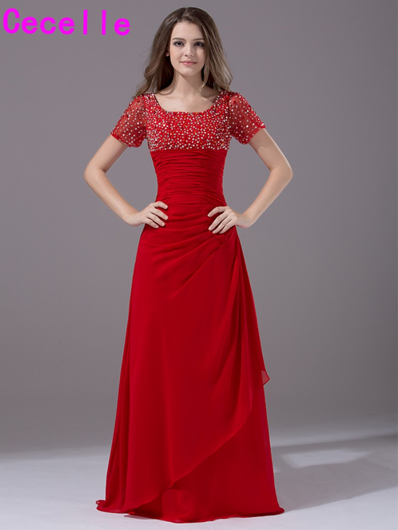 2017 Red Long Modest Bridesmaid Dresses With Short Sleeves