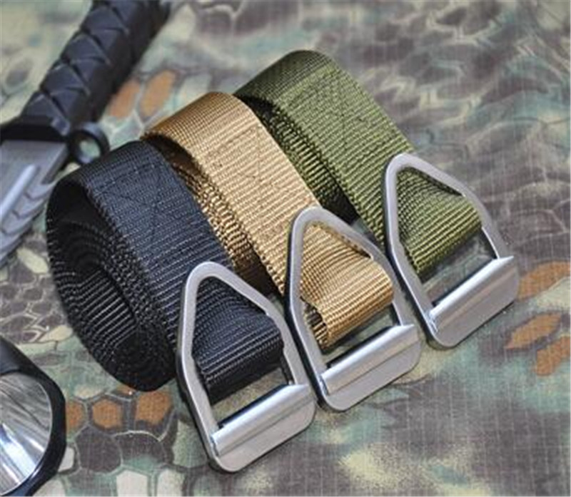 Outdoor Canvas Metal buckle Waist belts black green canvas advanced metal luster US brave soldier Army military slim firmly belt in Men 39 s Belts from Apparel Accessories