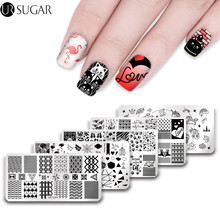 UR SUGAR 1Pc Happy Valentine's Day Unicorn Flamingo Simple Triangle Wave Line  Stamping Template  Manicure Nail Art DIY Plate