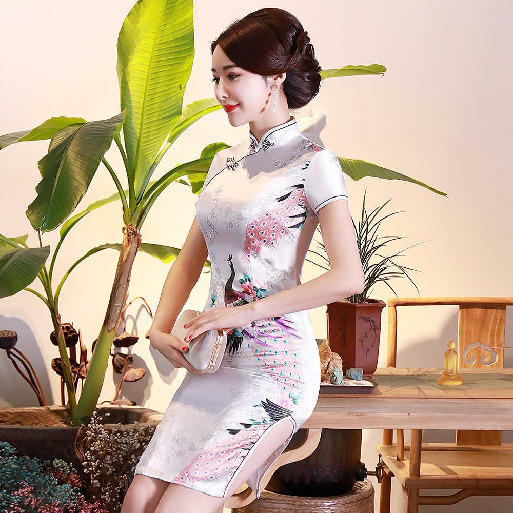 בתוספת גודל 3XL 4XL 5XL 6XL סאטן נשי Qipao בציר סיני שמלת ערב Vestidos מנדרינית צווארון קלאסי פרח Cheongsam
