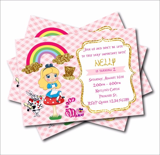 20 Pcs Lot Alice In Wonderland Custom Party Invites Vintage Baby Shower Invitations Birthday Decoration Supply