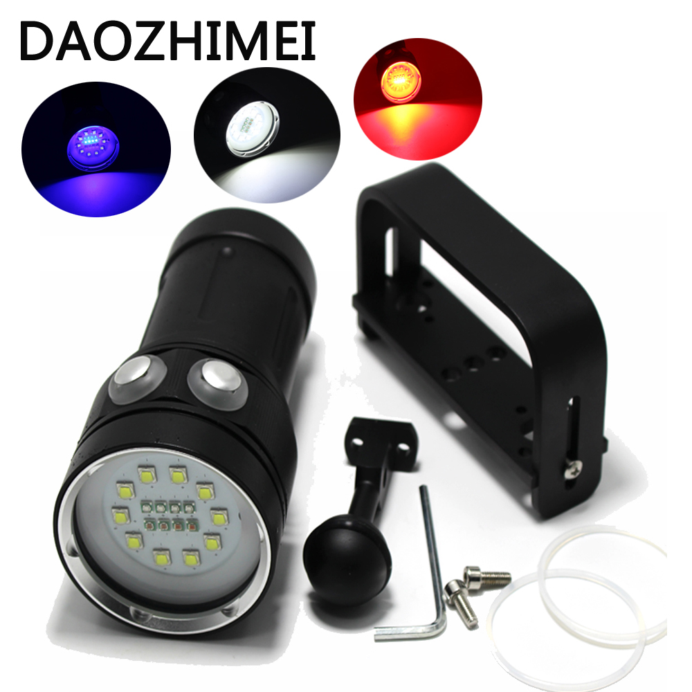 20000 Lumens 10*XM-L2 LED White Light +4x Red Light+4x UV Light Diving Photography Flashlight Torch 200m Underwater Video Light sport car style 2 led white light flashlight keychain w sound effect red 4 x lr41