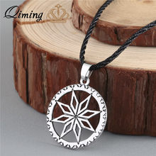 QIMING Alatyr Slavic Pendant Perun Protect God Runes Family Success Sun Good Handcrafted Norse Jewelry Women Leather Necklace(Hong Kong,China)