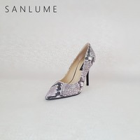 SANLUME Autumn Snakeskin Texture Pumps Women Shoes Woman Extreme High Heels Ladies Sexy Stiletto Party Shoes Pointed Toe Heels