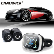 цена на LCD TPMS Cigarette lighter Wireless Digital Tire Pressure Monitoring System 4 External Sensor Car Alarm  system CHADWICK TP720