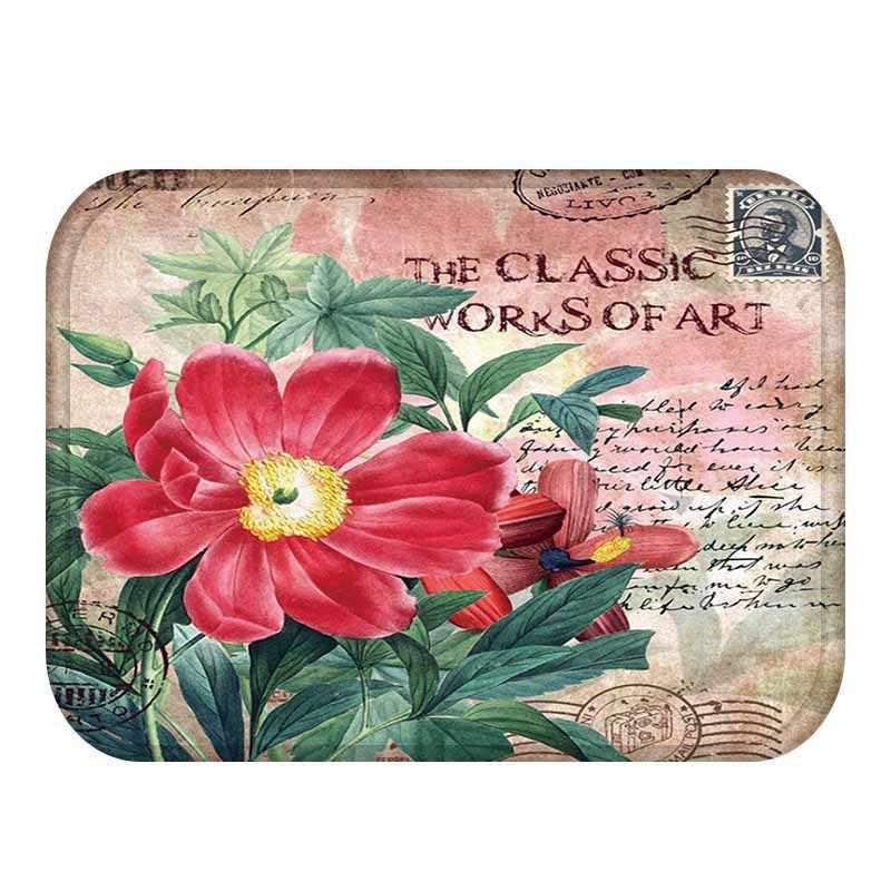 Ретро-коврик для двери с принтом розы, фланелевый домашний декор, нескользящий коврик для пола, ретро-строительный дверной коврик, Tapis de bain felpudo