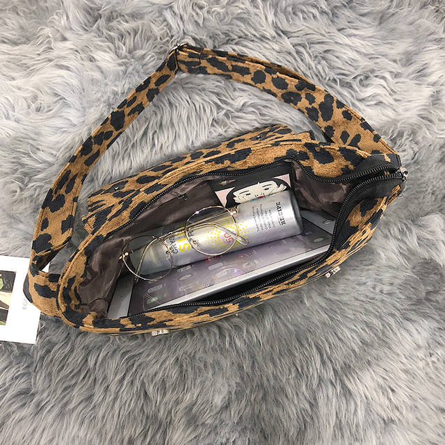 2020 leopard print Vintage Women small crossbody Bag corduroy Day High Quality mini bags Women Shoulder Bag Handbag Female 5