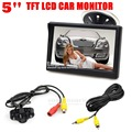 DIYKIT 5 inch LCD Display Rear View Car Monitor with LED Night Vision Car Camera Wire Parking Security System