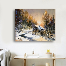 Snow Village Sunshine Scenery Wall Art Poster Print Canvas Painting Calligraphy Decor Picture for Living Room Home
