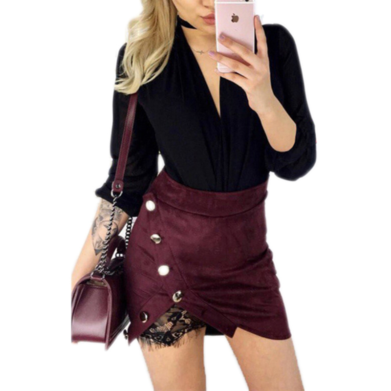 New fashion Women Ladies High Waist Pencil Skirts button lace patchwork sexy Bodycon Suede Leather split party casual Mini Skirt 2