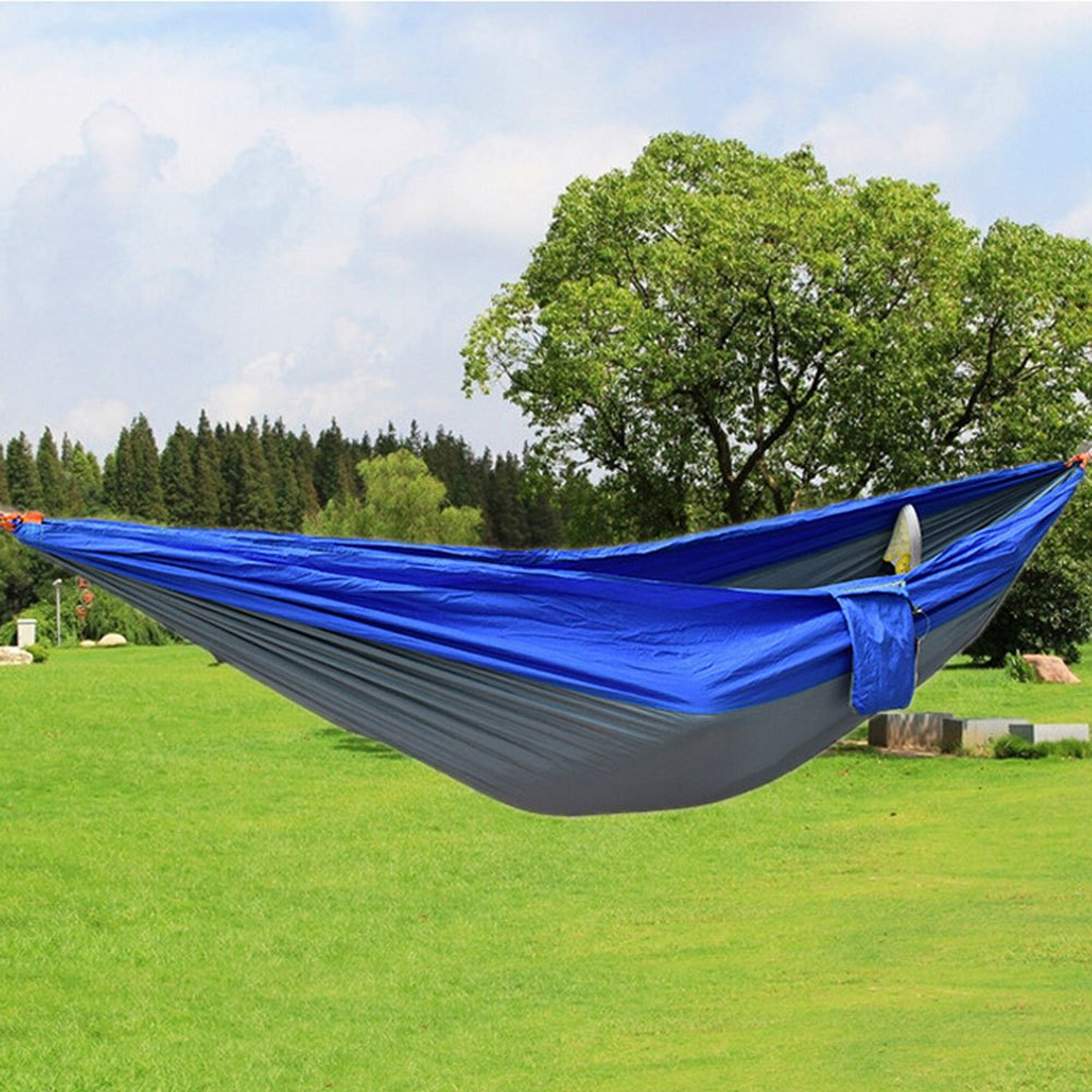 Newest Durable Colorful Hammock Double Person Assorted Color Portable Parachute Nylon Fabric For Indoor Outdoor Use Multi-color or fabric headgear color assorted