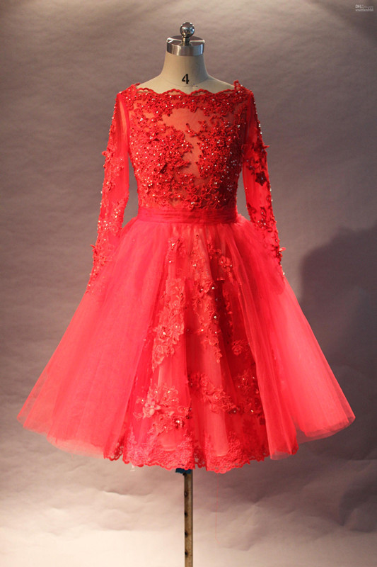 Long Sleeve Red Beaded Lace Knee Length Short Cocktail Dresses ...