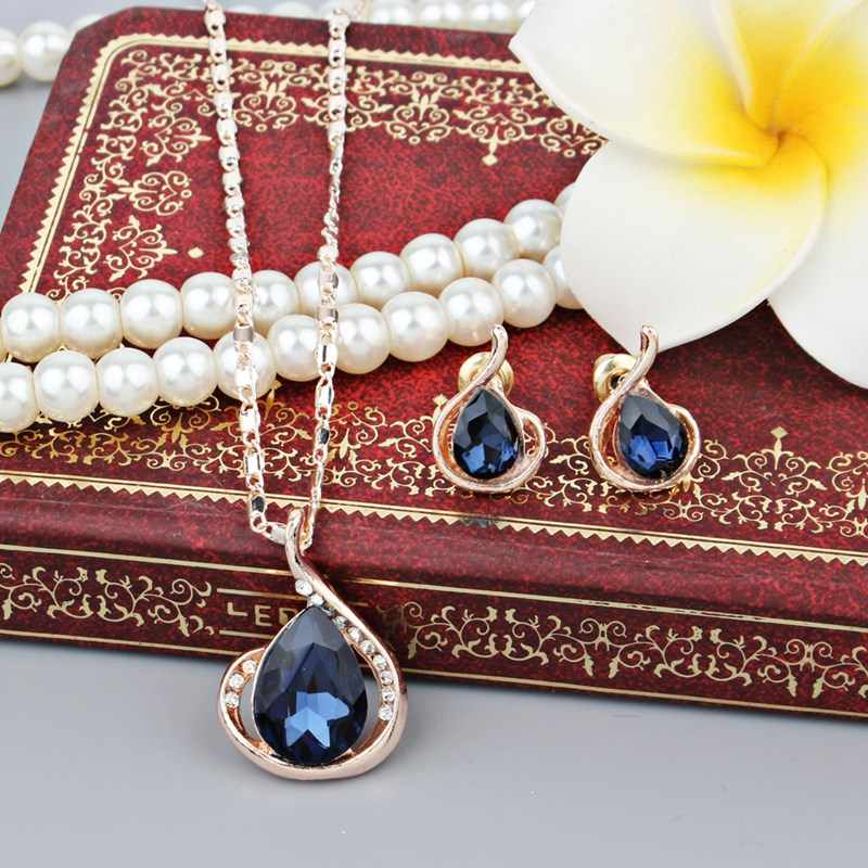 חליפת תכשיטי אופנה חדש באמת נשים אוהבים כחול עגול עגילים ושרשרת עם אבנים לנשים ירוק מתנות יום הולדת