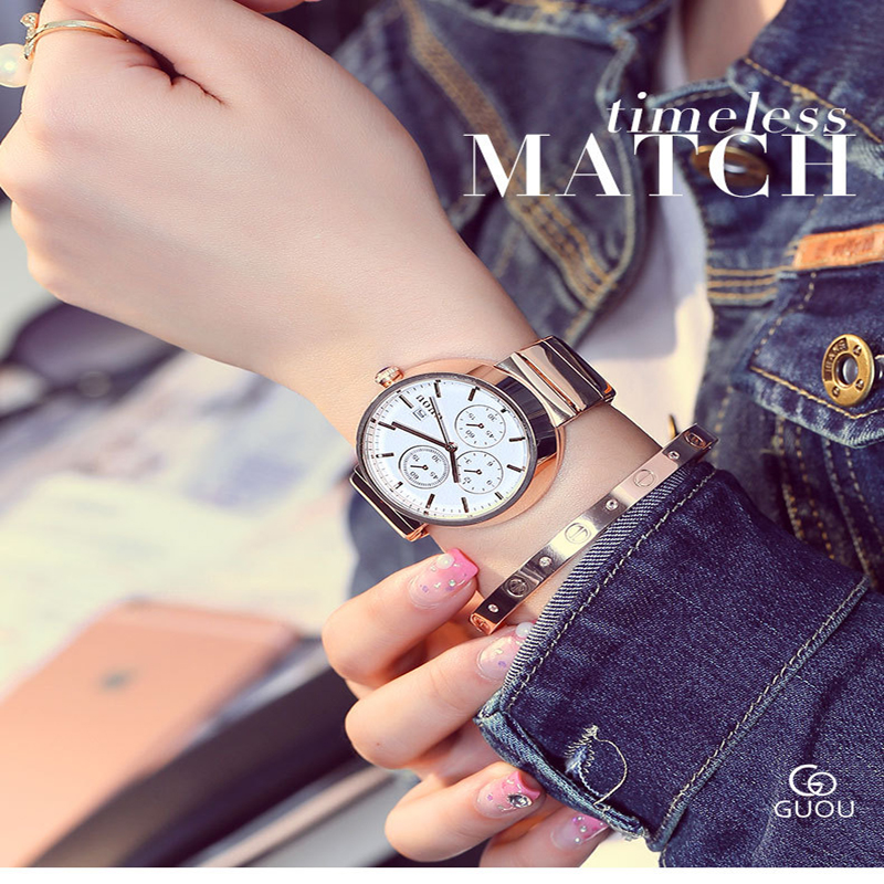 ФОТО Ladies Watch Luxury Brand Guou Ladies Full Stainless steel GOLD band quartz Watch Lady Calendar Clock causal 3 Eyes Wristwatches