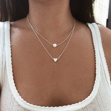 Korean fashion pearl love double-layer integrated necklace accessories female personality wild Charm Chains Necklace Jewelry