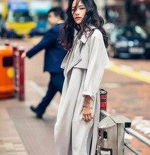 2016 New Autumn Winter Long Coat Turn Down Collar Loose Gray Slim European Style Casual Trech Coat Femme