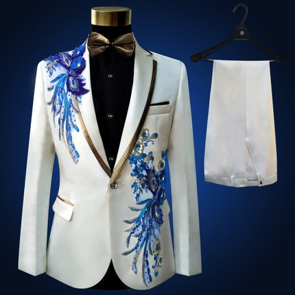 Freeship 100 real font b mens b font white with blue embroidery beading tuxedo suit event