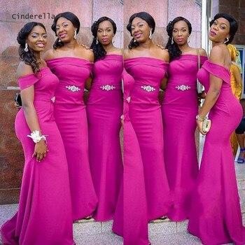 Cinderella African Boat Neck Off The Shoulder Mermaid Satin Pleated Women Bridesmaid Dresses Wedding Party Bridesmaid Dresses