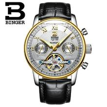 Switzerland Binger Man Tourbillon Watch Top Brand Luxury Male Waterproof Sport Military Leather Wristwatch Clock montre homme