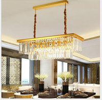 Modern Nordic L80cm W35cm Golden Transparent Kitchen Pendant Light Coffee Shop Bar Light Lustres Crystal Pendant Lamp Lighting