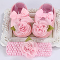 Newborn photo props girls  baby shoes Flower knitted headband set,Baby shoes winter,Toddler Ballerina Slippers