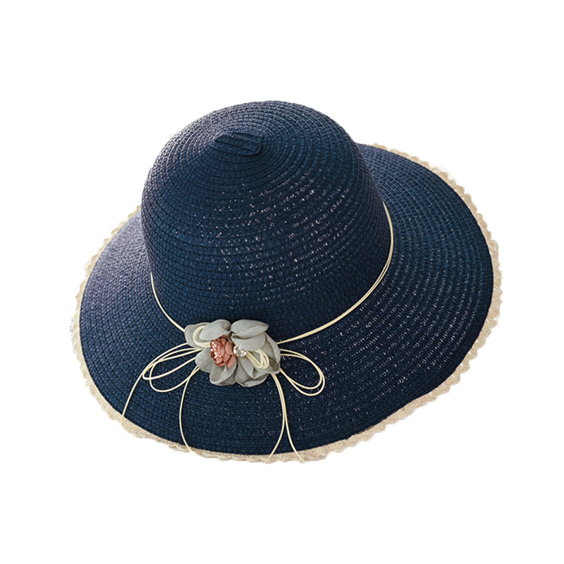 Женские плетеные шляпы от солнца ручной работы с цветочным дизайном, соломенная шляпа с большими полями на шнуровке, Летние Пляжные шапки, женские шапки - Цвет: D