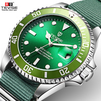 Fashion Automantic Mechanical Watch TEVISE Luxury Brand Green Dial Mens Watch Nylon Material Strap Gift Men