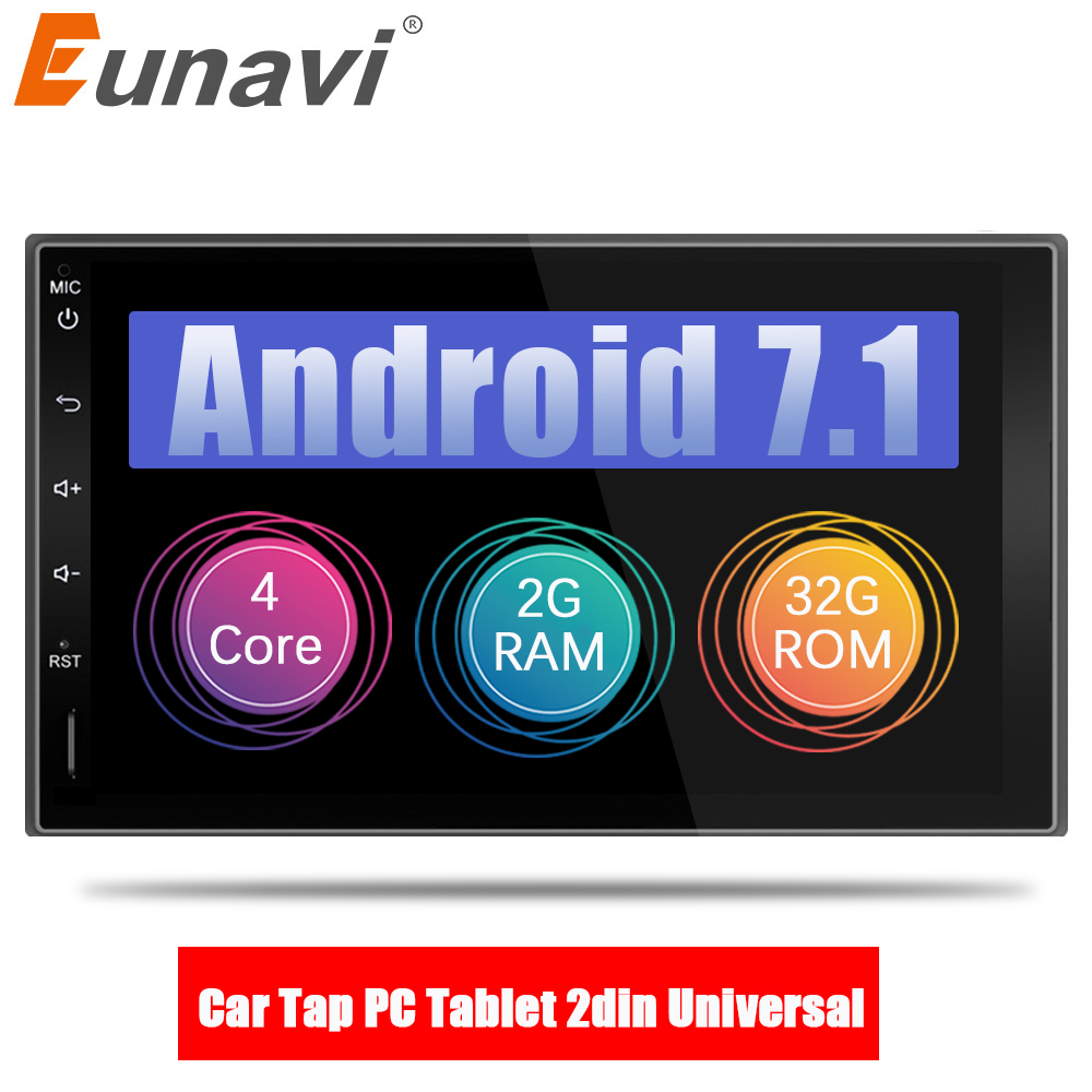 Eunavi 7 in dash 2 Din 1024*600 Android 7.1 Car Tap PC Tablet 2din Universal GPS Navigation Radio Stereo Audio Player(No DVD)