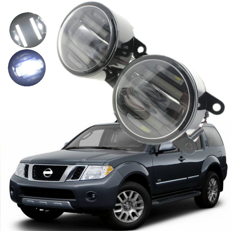 For Nissan Pathfinder R51 2005-2010 2in1 18W LED Fog Lights White Cut-Line Lens DRL Daytime Running Lights Car-Styling ветровики skyline nissan pathfinder r51 04 10