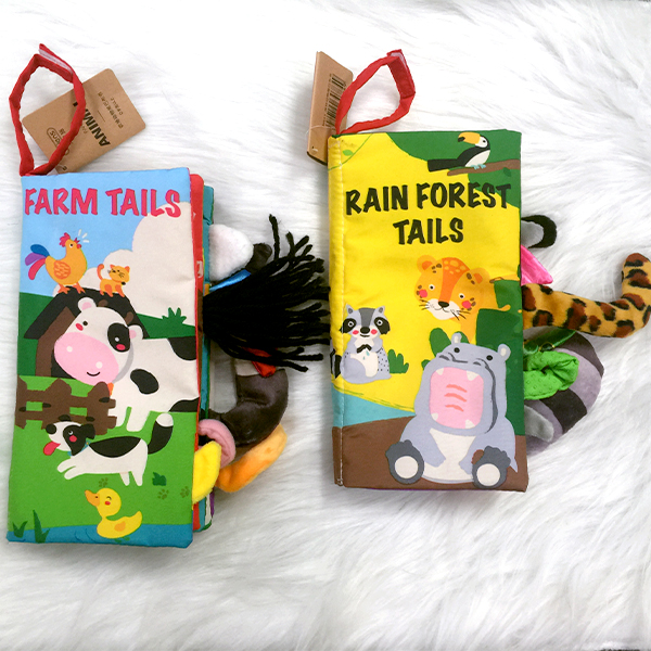 Image 5 - Beiens Infant 3 Style Baby Cloth Books Early Learning Educational Toys with Animals Tails Soft Cloth Development Books Rattles