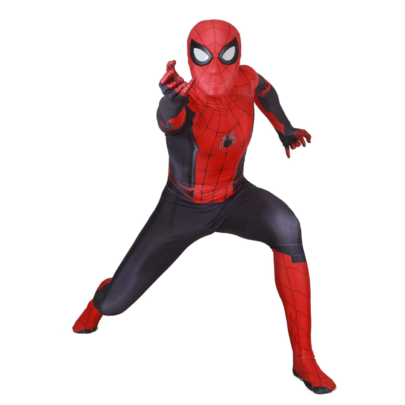 Kids Adult  Lycra 2019 Spiderman Far From Home Bodysuit Zentai Cosplay Costumes for Man Woman Kids Superhero Costume Cosplay