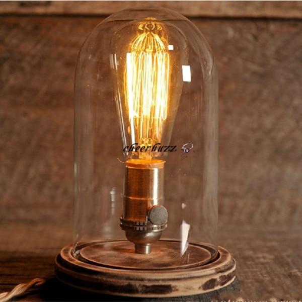 Modern Glass Dome Bell Jar Table Lamp Wooden Base Desk Lamp ...