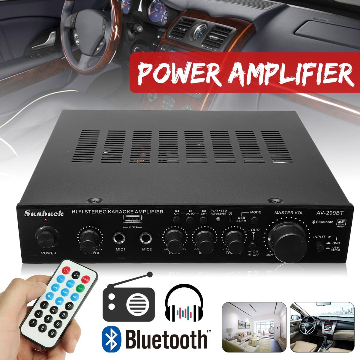все цены на 298B Bluetooth 2.0 Channel 2000W 5 Channel Audio Power Amplifier 220V AV Amp Speaker with Remote Control Support FM USB SD Card онлайн