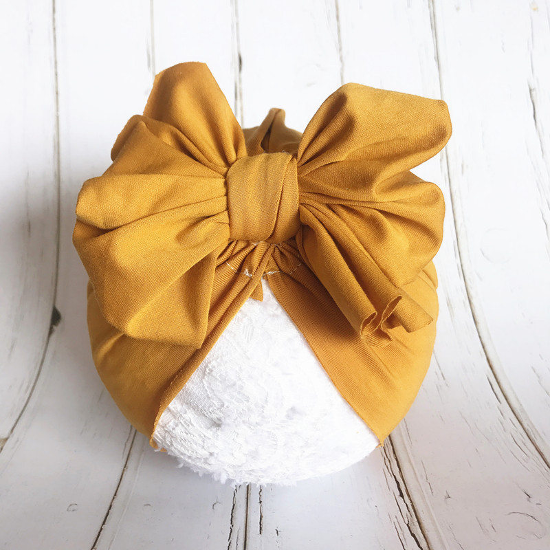 1pcs 2019 Spring Infant Beanie Turban Hat Baby Cotton Big Bowknot Hairband Flower Hair Bows Photography Props Cap