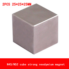 2PCS 25*25*25mm cube block magnet Super strong rare earth neodymium magnets N45 N52 block 25