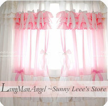 Fashion cake princess curtain sweet valance bow curtains window wedding decoration cortina for living room finished