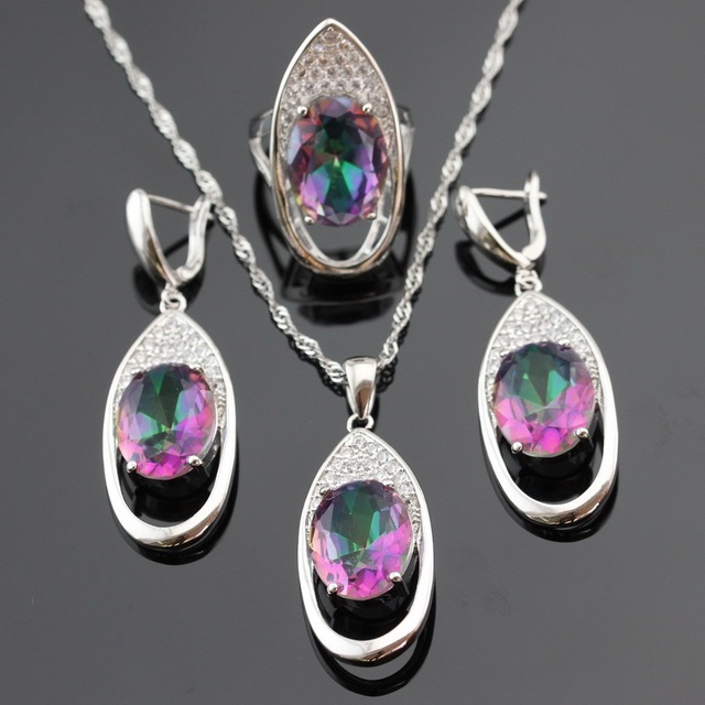 Huge Round Multicolor Rainbow Crystal Silver Color Jewelry Sets For Women Earrings/Necklace/Pendant/Ring Free Gift Box