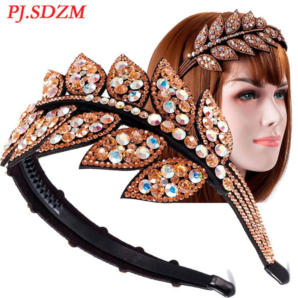 PJ.SDZM-diademas de diamantes de imitación de hojas para niña, diademas de cristal accesorio para el cabello mujer, regalo para madre