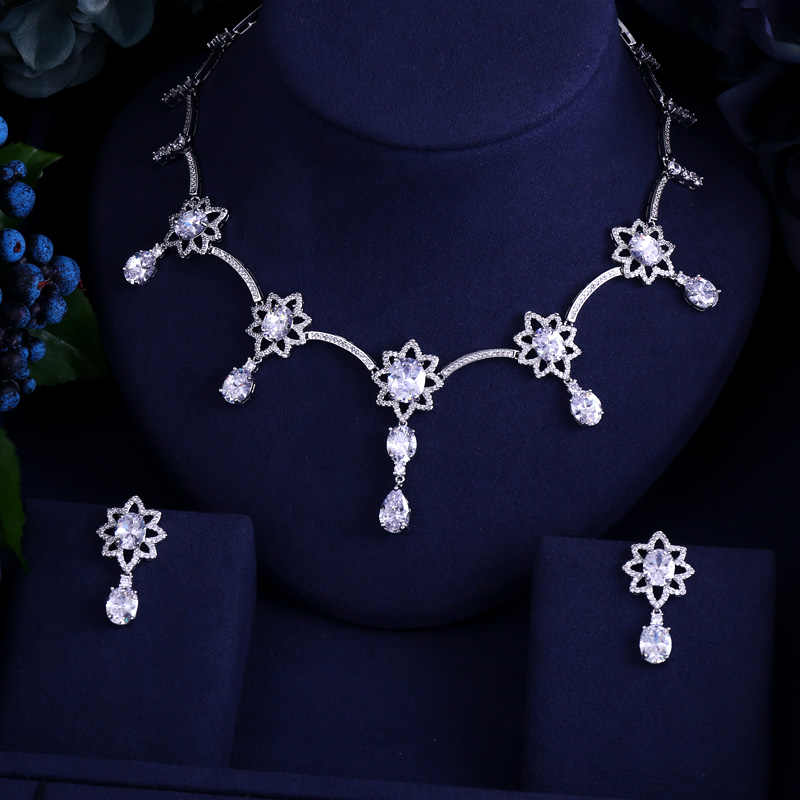 Luxury white gold-color Elegant Sunflower Shape Bridal Cubic Zircon Necklace Earrings Sets Wedding Jewelry Sets For Women