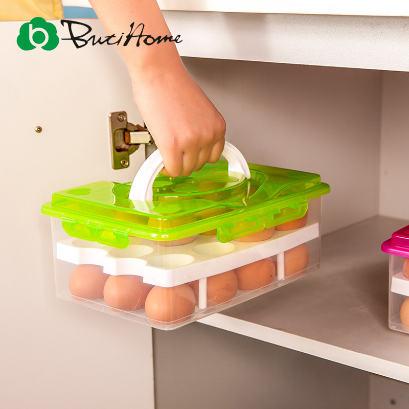 Butihome Egg Storage Box Portable Double Layer 24 Cell Egg Ps