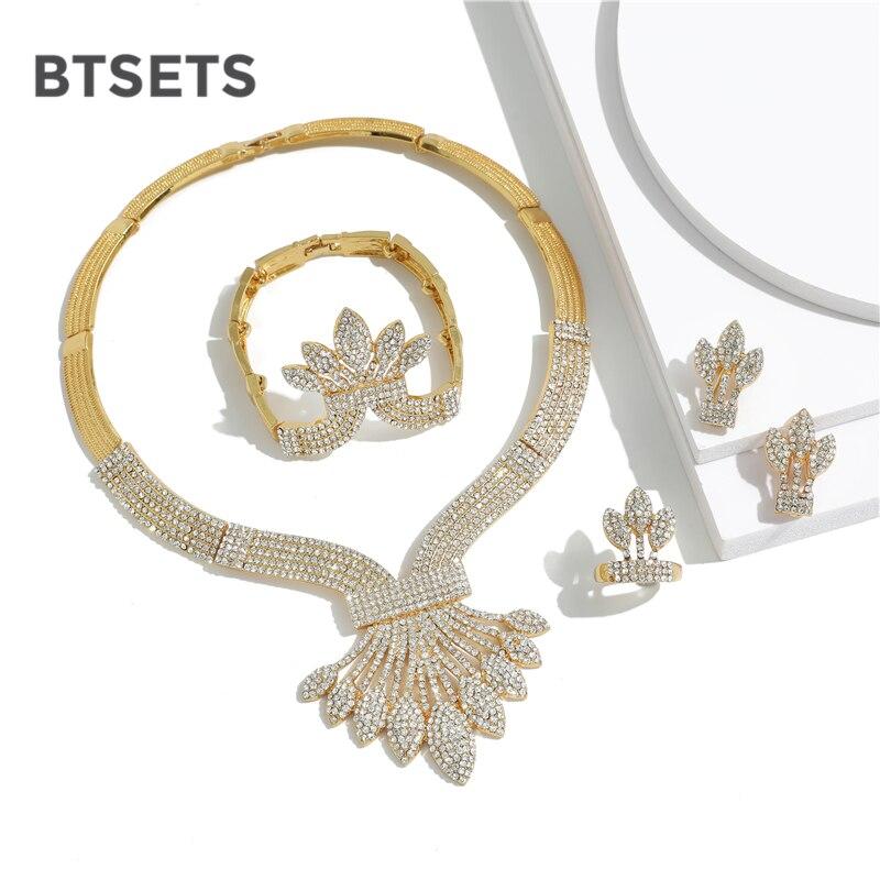 BTSETS Costume cristal perlé bijoux ensemble pour femmes cadeau de mariée 2019 couleur or Dubai bijoux africains ensemble mariage nigérian