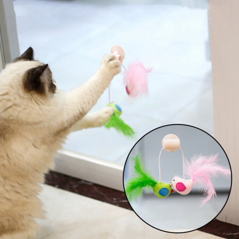 Cat Bird Interative Playing Toy Teaser Wand Sucker Window Cat toy Plastic 26*14cm Teaser Interactive Feather Toy