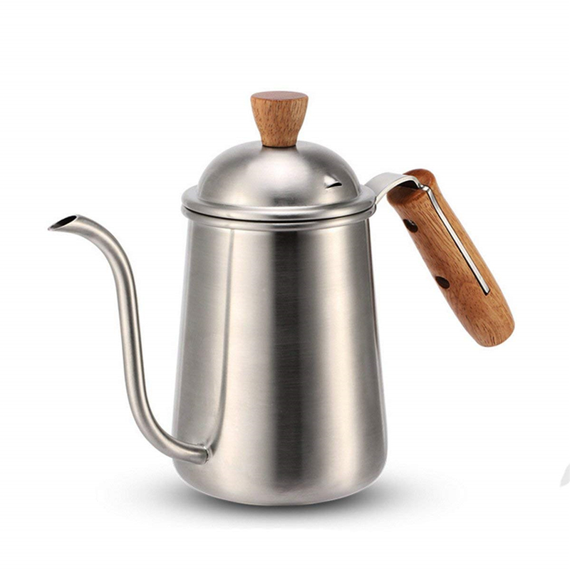 ROKENE Professional Coffee Drip Kettle Stainless Steel Pour Over Coffee Kettle with Wood Handle Slender Spout Kettle Specialized in Coffee Pots from Home Garden