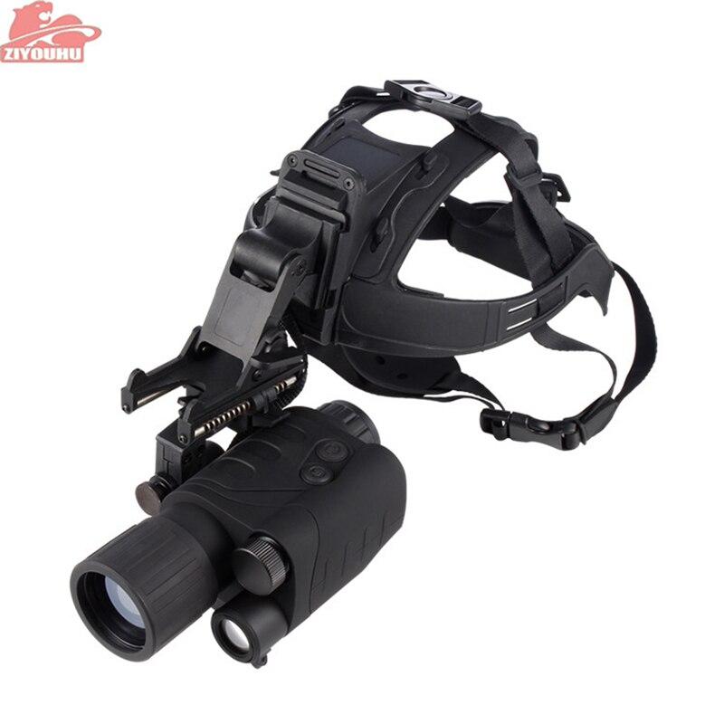 ZIYOUHU Vision nocturne chasse monoculaire 1x24 tête montée Vision nocturne monoculaires Compact RG-55 portée de chasse intégré dispositif IR