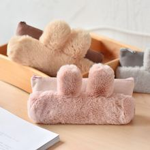 Cute Long Rabbit Ears Cat PU Pencil Bag Storage Organizer Office Stationery